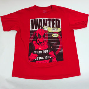 EUC Dead Pool Marvel Graphic T-Shirt Red Large